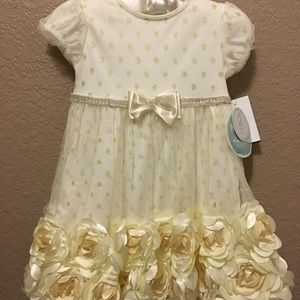 Ivory and Gold Formal Dress (NWT) 18/24M